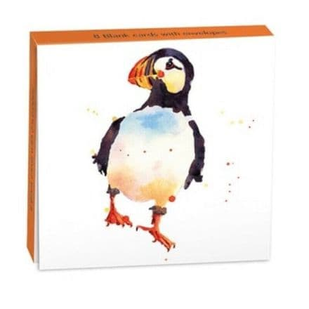 8 Blank Notecards / Notelets - Puffin Prim
